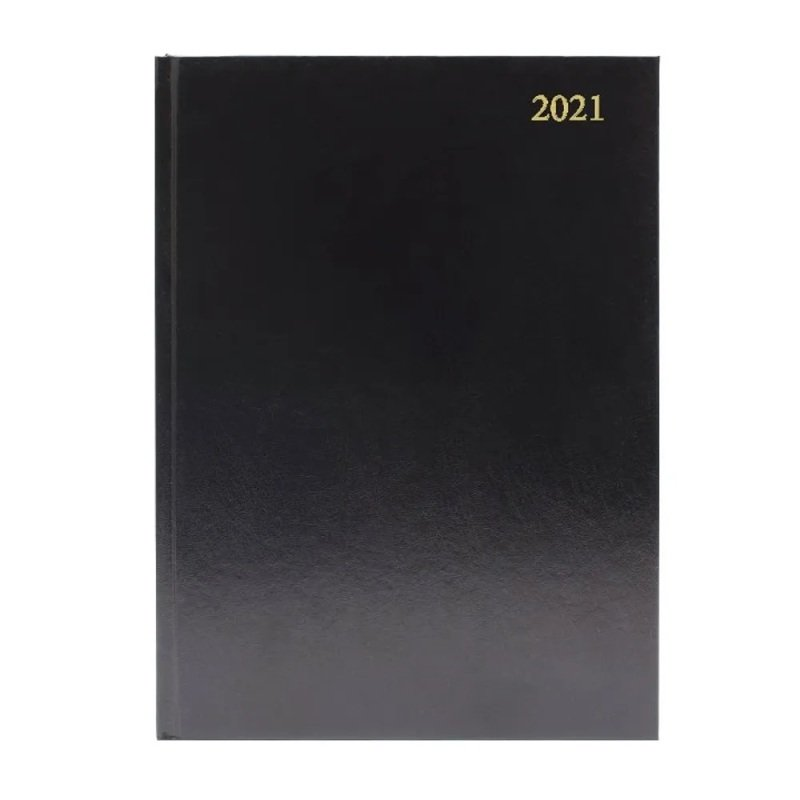 Image of Desk Diary Day Per Page Appointments A4 Black 2021