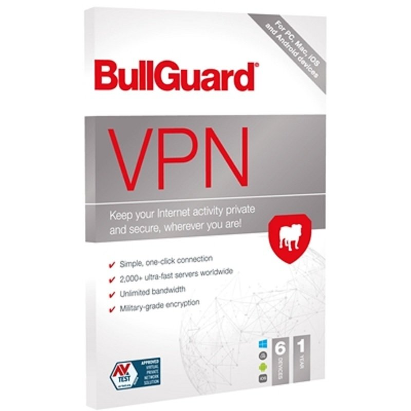 Image of BullGuard VPN 2021 (Retail 5 Pack) - 5 x 6 Device Licences 1 Year - PC Mac Android & iOS