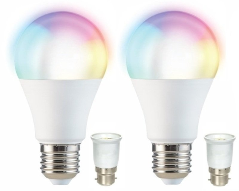 Smart  RGB Wi-Fi LED Bulb Twin Pack - Works with Alexa and Google Assistant