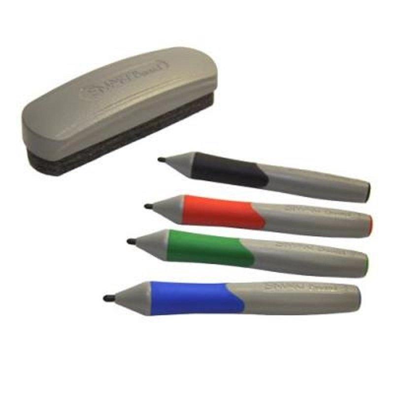 SMART - Whiteboard Markers and Eraser Set - Black, Blue, Red, Green