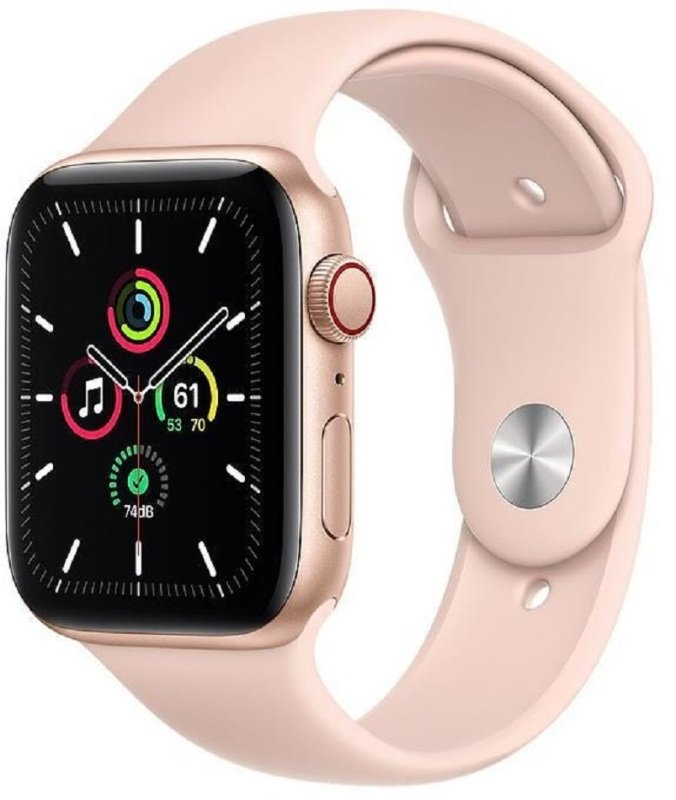 Apple Watch SE GPS + Cellular, 44mm Gold Aluminium Case with Pink Sand Sport Band - Regular