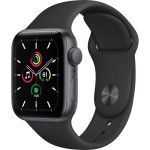 Apple Watch SE GPS, 40mm Space Gray Aluminium Case with Black Sport Band - Regular