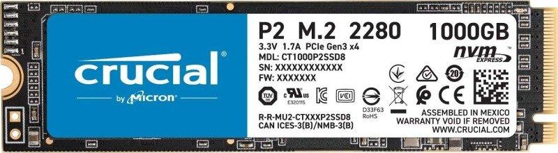 Crucial® P2 1TB 3D NAND NVMe PCIe M.2 SSD