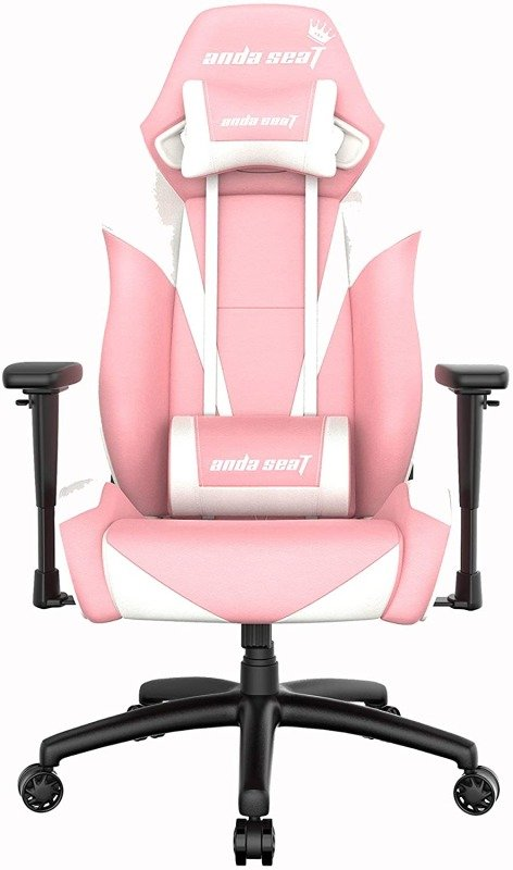 Image of Anda Seat Pretty In Pink Pro Gaming Chair, Pink and White - Premium Pink Office Chair with Lumbar Back Support Desk Chair