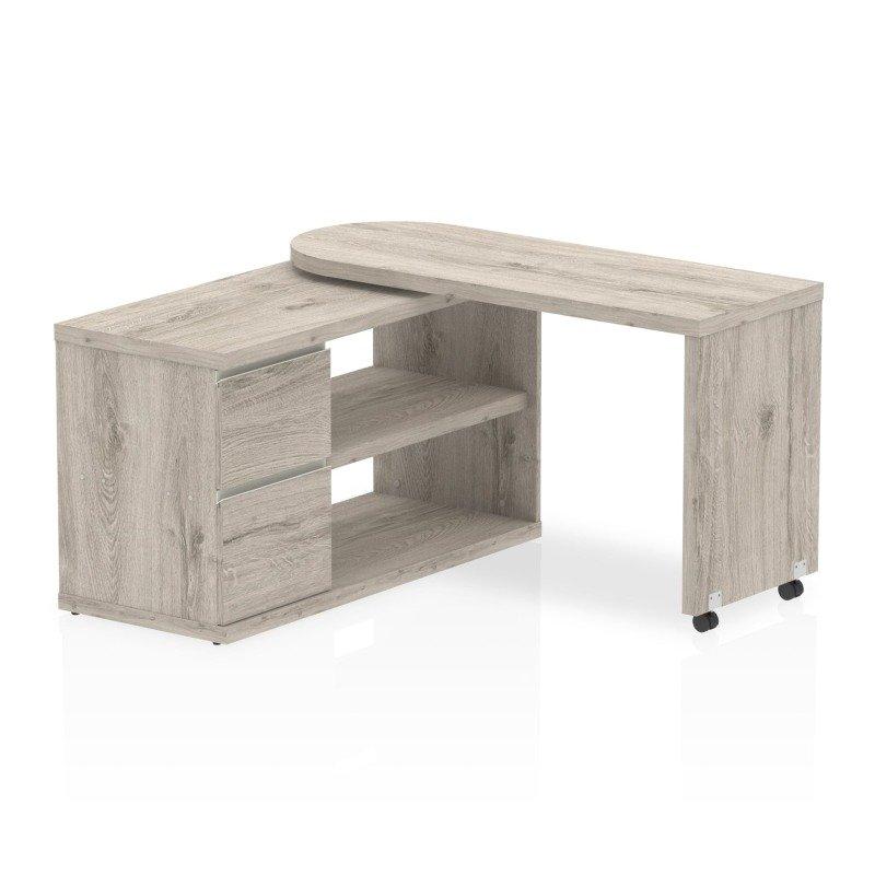 Fleur Smart Storage Desk Grey Oak 1300x500mm
