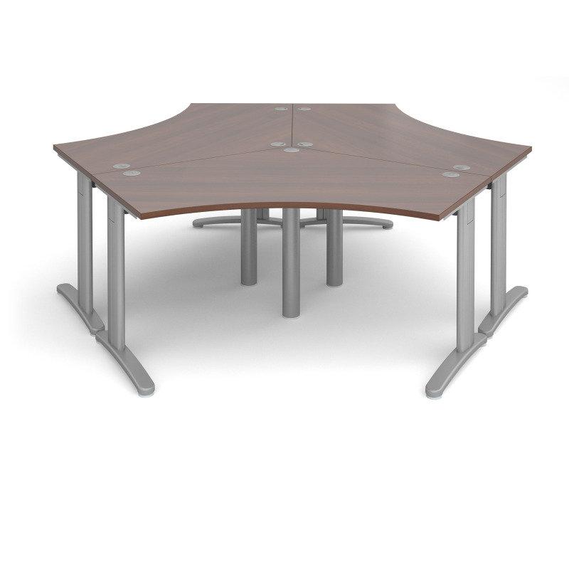 TR10 120 Degree Three Desk Cluster 2332mm x 2020mm - Silver Frame Walnut Top