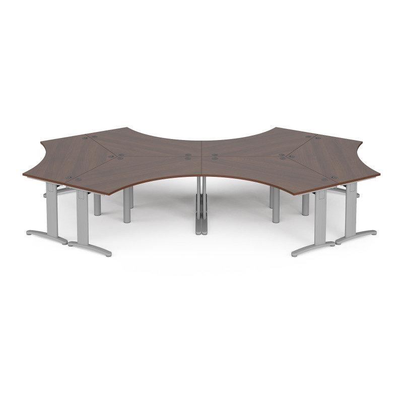 TR10 120 Degree Six Desk Cluster 4664mm x 2020mm - Silver Frame Walnut Top