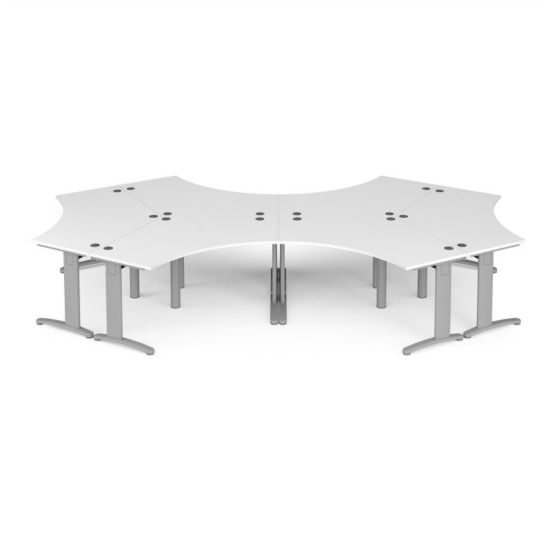 TR10 120 Degree Six Desk Cluster 4664mm x 2020mm - Silver Frame White Top
