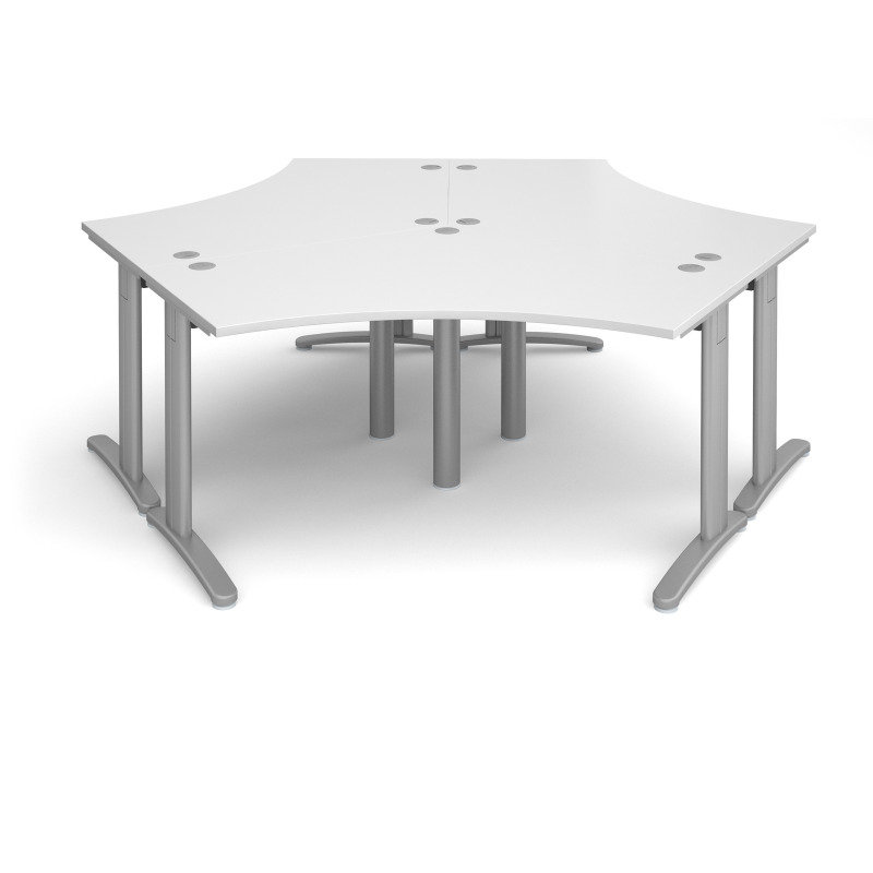 TR10 120 Degree Three Desk Cluster 2332mm x 2020mm - Silver Frame White Top