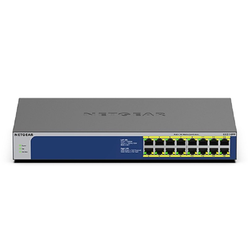 Netgear GS516PP - Switch - 16 Ports - Unmanaged - Rack-mountable