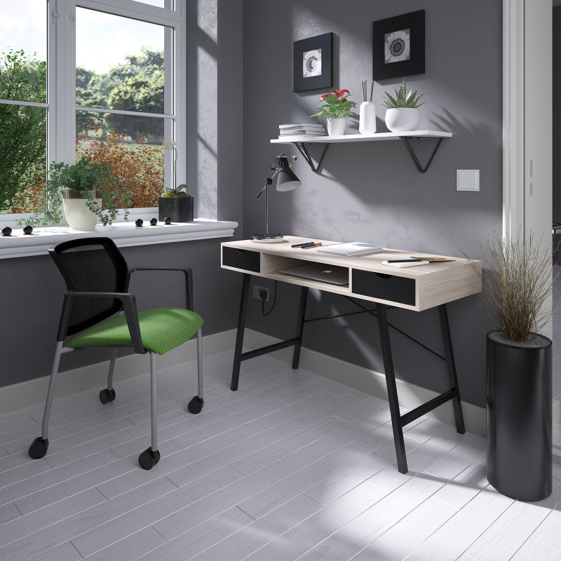 Coba Home Office Workstation With Pull Out Drawers - Country Oak With Black Frame
