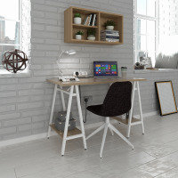 Pella Home Office Workstation With Trestle Legs - Windsor Oak With White Frame
