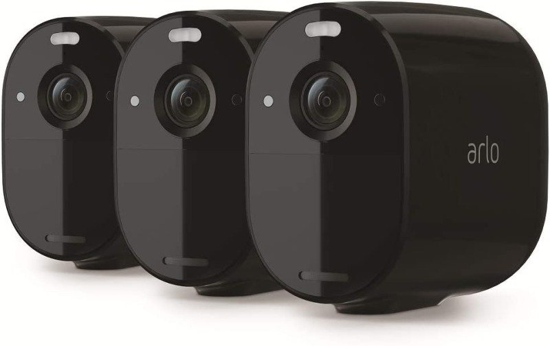 Arlo Essential Spotlight CCTV 3 Camera system | Wireless WiFi, 1080p Video, Color Night Vision, 2-Way Audio, 6-Month Battery Life, Motion Activated, Direct to WiFi, No Hub Needed, VMC2330B - Black