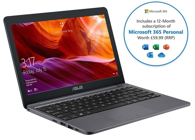 Asus E203 Intel Celeron 4GB 64GB eMMC 11.6 Win10 S Laptop - With 1 Year Microsoft 365 Personal