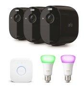 Arlo Essential Spotlight CCTV 3 Camera system with Philips Hue E27 Starter Kit - Black
