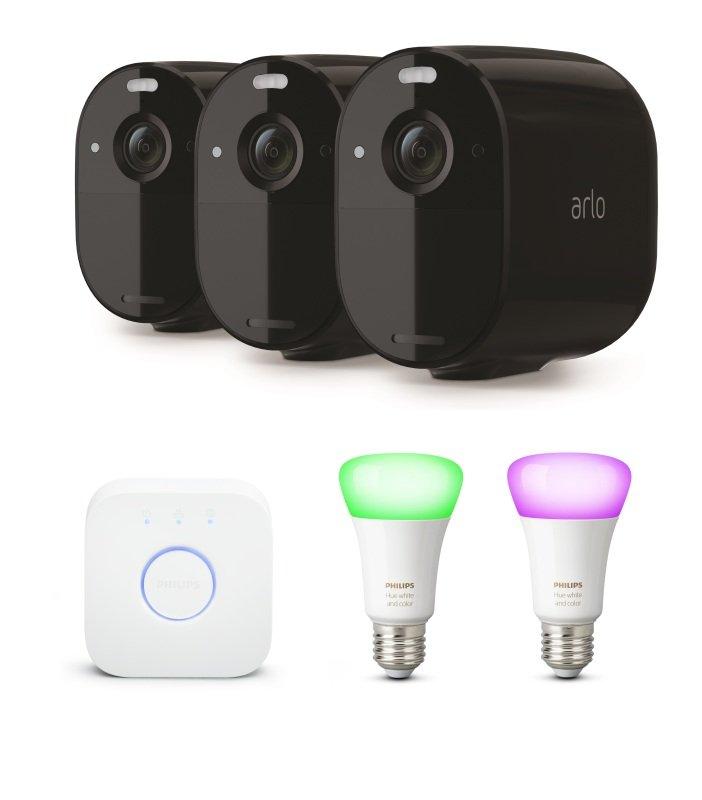 Arlo Essential Spotlight CCTV 3 Camera system with Philips Hue E27 Sta