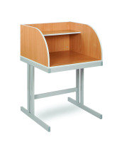 Beech Study Carrel with Grey Cantilever Legs